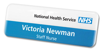 Standard Name Badges - No border and white / blue background | www.namebadgesinternational.us